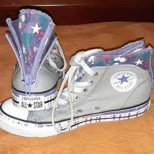 Sz2 Converse High-top Grey paint splatters &stars